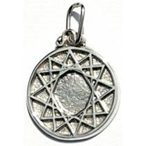 Medalla Dije De Estrella De 12 Puntas En Plata Fina.925