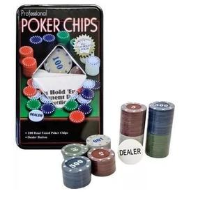 Fichário Kit Poker Profissional Super Luxo Com 100 Fichas