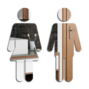 Espelho Decorativo Banheiro - Bonecos - 20 X 20