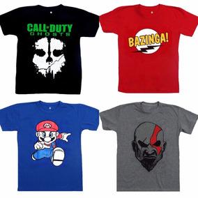 Camiseta Kratos - Super Mario - Bazinga - Call Of Duty