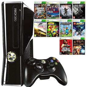 Xbox 360 Slim + 1 Controle + 10 Jogos + Joga Live + Original