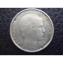 Uruguay - Moneda De 20 Cts Plata 720 , Año 1942 - Muy Bueno