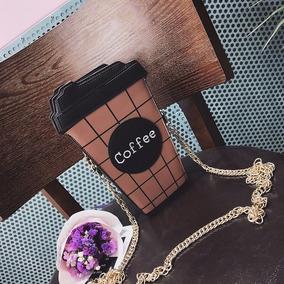 Cartera Diseño Coffee Cafe Marron Con Colgantes En Dorado