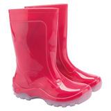 Bota Infantil Impermeável Pink Galocha Pvc 10 Pares