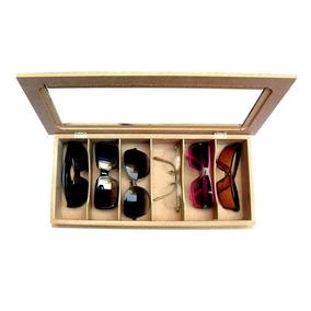 Caixa Para 6 Óculos Ou Porta Relógios Em Mdf Com Vidro