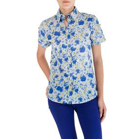 Camisa De Dama Manga Corta En Color Azul Claro Con Estampado