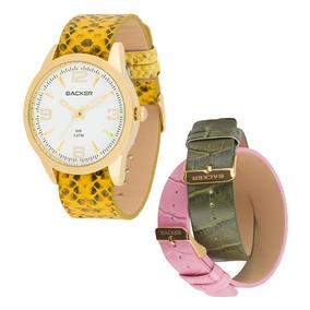 Relógio Backer Pulseira De Couro Wr 5 Atm - 3315142f Br