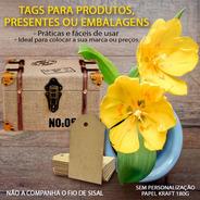 Etiqueta Tag Retangular Em Kraft Para Batizados 100 Peças