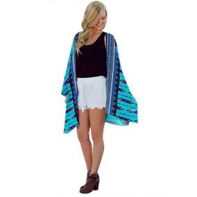 S Talla Bikini Tapa Kimono Geométrica Suelta Superior Blusa