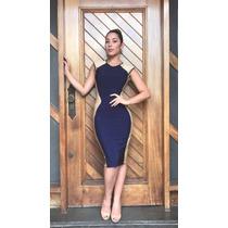 Vestido Midi Moda Evangélica Secretaria Bandagem Fretegrátis