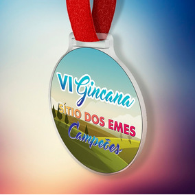 10 Medalhas Personalizada Acrílico Redonda 4x4cm C/ Fita