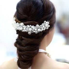 Novias Tiara Tocado Boda Perlas Aplique Peinado 15 Años A015