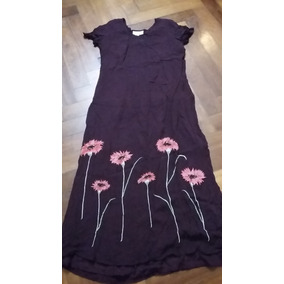 Vestido Largo En Gasa Con Flores Bordadas Impecable