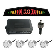 Sensor De Ré 4 Sensores Prata Estacionamento Display Led Kit