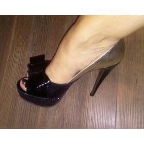 Hermosos Zapatos Paruolo En Dorado Y Negro, Talle 40