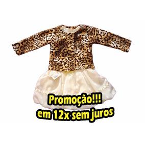 Vestido C/casaco Estampa Onça Bebê Menina Mini Miss Promoção