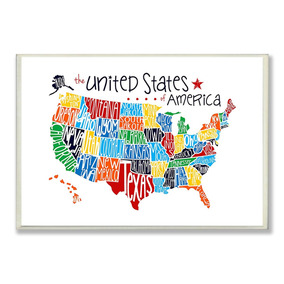 The Kids Room By Stupell Usa Rainbow Typography Map On White