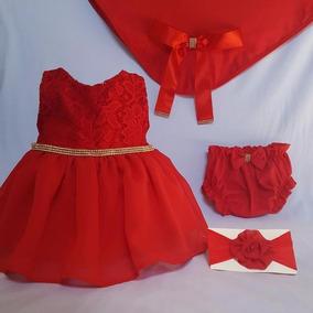 Saída De Maternidade Luxo Vermelha Menina Calcinha
