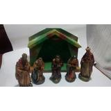 5 Figuras En Yeso De Pesebres Con Pesebre Fibro Facil $ 550