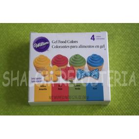 *kit 4 Colorantes Gel Colores Basicos Wilton Cupcake Fondant