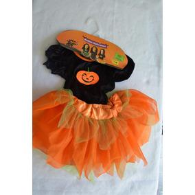 Disfraz Niña Brujita Halloween Muertos Talla 3 Naranja