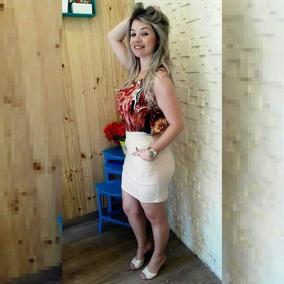 Vestido Decote Tipo Saia Nude Blusa Estilo Farm Morena Rosa