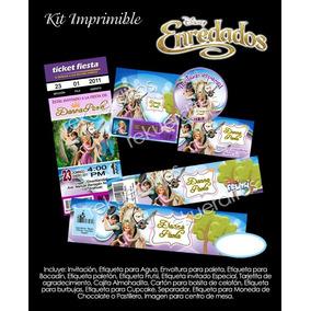 Kit Imprimible Princesas Rapunzel Fiesta Niña Piñata Bolo