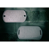 Placas De Identificacion Militar De Doble Orificio. Dog Tags