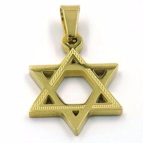 Dije De Acero Dorado Estrella De David Judía