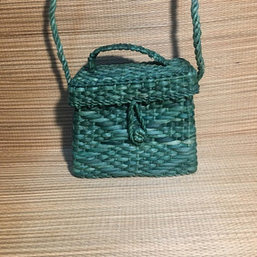 Bolsa De Palha Personalizada Baú Mini - Verde