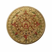 2 Monedas Calendario Azteca Bañadas En Oro Con Y Sin Esmalte