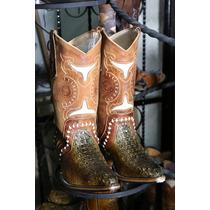 Botas Vaqueras Hombre Piel Cocodrilo Diseño Montana De Rodeo