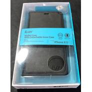 Funda Iluv iPhone XR Wallet Case Negro Cuerina