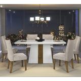 Mesa Itália Tampo Chanfrado Vidro Branco 6 Cadeiras Golden
