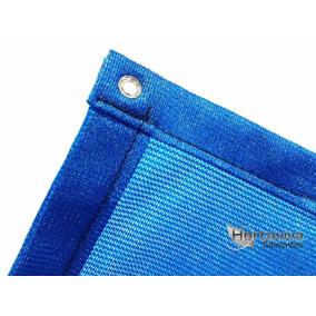 Tela Sombrite Azul 90% - 5m X 10m Com Bainha E Ilhós