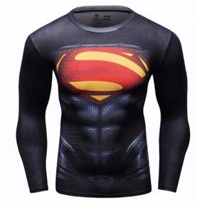 Polera Compresion Superheroe Manga Larga Superman