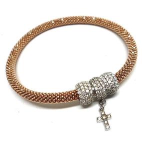Uqm-bracelete Italiano Prata925 Zirconias Folheado Ouro Rose