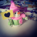 Muñeco De Nieve Con Porta Mensaje De Porcelana Fria