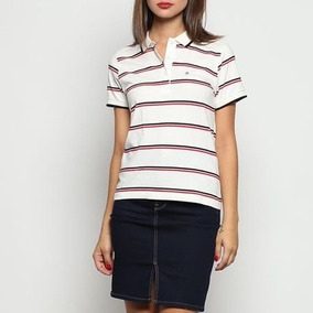 Camisa Polo Listrada Off White & Preta Forum - P Feminina