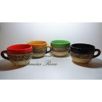 Tazon Artesanal De Ceramica - Sopa - Tallado Y Esmaltado -
