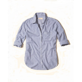 Hollister Camisa Dama Azul Rayas Blancas Talla M