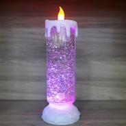 Luminária Vela Com Gliter 25cm Led Rgb Usb E Pilhas