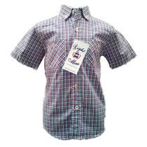 Camisa De Niño Cuadros Azules Con Dos Bolsas Manga Corta