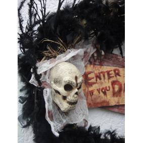 Halloween Corona Cráneo Huesos Calaca Y Arañas Día Muertos