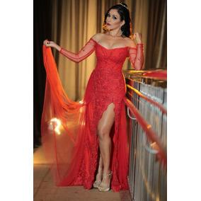 Vestido De Formatura Longo Vermelho Em Renda Bordada