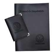Kit Volkswagen Porta Manual E Porta Documentos Couro Eco