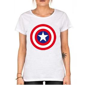 Remera De Mujer Superheroes Capitan America Mod3