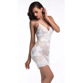 Vestido Importado Sensual Luxury Curto Bordado Lantejoulas