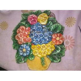Enfeite De Cerâmica P/ Parede/ Quadros / Placas Flores