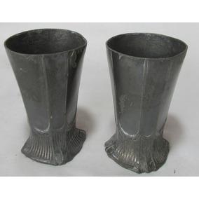 Antiguos Vasos De Peltre, Bañados En Plata Perdidos.. #l